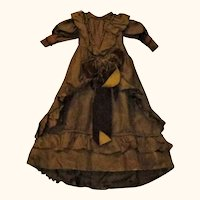 18 Inch Vintage Brown  Fashion Dress with Train Antique Fabric