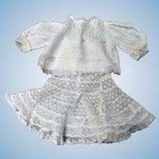 Old White Lace Blouse and Lace Skirt or Petticoat for 16-18 Inch Lady Doll