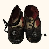2 & 7/8 French CM Tie Doll Shoes Toe Rosettes