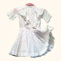 14 Inch Edwardian Palest Pink Lawn Drop Waist Dress Lace Yoke