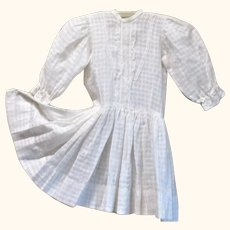 20 Inch Edwardian Window Pane Check White Lawn Drop Waist Dress Large Bisque Doll