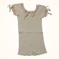 Cream Knit Doll Under Shirt Chemise Pink Trim Draw String Neck and Sleeves