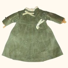 Frail 19th Century 10 Inch Sage Silk Lined Bebe Dress with Back Bow