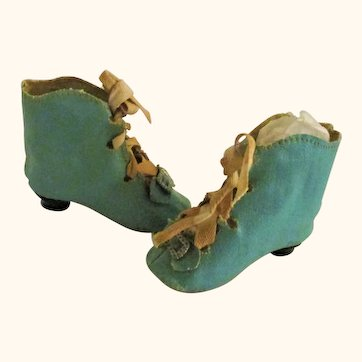 2.5 Inch Turquoise Blue Oil Cloth Tie Boots with French Heels