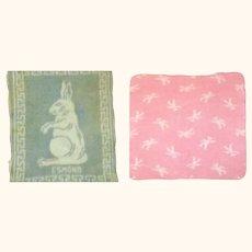 Fuzzy Blue & White Esmond Rabbit Blanket & Pink & White Teddy Blanket