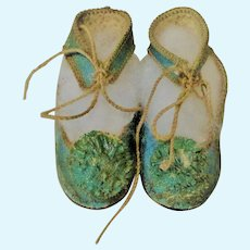19th Century French 2.25  Inch Size 7 Turquoise Kid CM Tie Shoes w Toe Rosettes