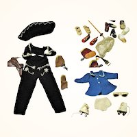 14 Inch Mary Hoyer Pattern Knit Cow Girl & Skate Costumes + Skates Shoes Boots Sun Glasses Hair Net Ski Pole