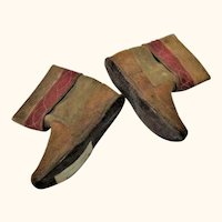 Old 6.5 Inch Traditional Madeira Suede & Leather Boots for Large Cloth Body Doll