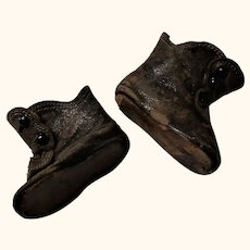 19th Century 2 Inch Brown Leather Flat Sole 3 Button Boots