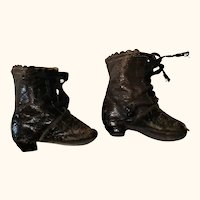 19th Century 1 & 7/8 Inch J.J Marked Brown Leather Tie Boots with Heels