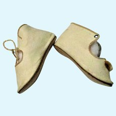 3 Inch Size 7 Soft Cream Kid Made in Germany Low Tie  Boots