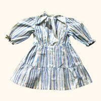 Old 14 Inch Blue & White Stripe Chambray Dress Shirt Flounce for Antique Doll
