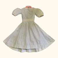 18 Inch 19th Century Hand Stitched Blue & White Gingham Dress for Larger China or Papier-mache Doll