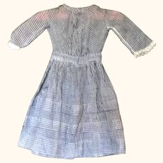 16 Inch 19th Century Hand Stitched Indigo Check Dress  for China or Papier-mache Doll