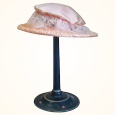 11 Inch Pink Silk French Doll Hat
