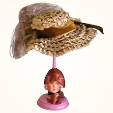 Old Curlique Woven Straw Doll Hat