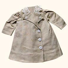 "12"" Edwardian Ecru Linen Doll Coat w Broderie Anglaise Collar"