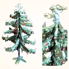 Scarce Old 4.25 Inch Babette Schweizer Soft Metal Doll House Christmas Tree with Angel Topper and Candles