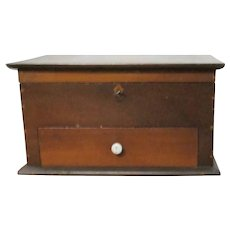 Victorian 2 Tone Wood Lift Top Trinket Lock Box with Drawer and Tray