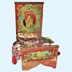 Romantic Lithographed Paper & Painted Wood Large Scale Bed