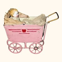"""7"""" German Peppermint Pink Painted Tin German Doll Pram & 4"""" Wire Jointed Baby"""