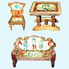 3 Pieces Bliss Paper & Wood Small Scale ABC Parlor Furniture