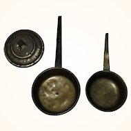 2 German Doll House Kitchen Room Box Brass Long Handle 19th Century Fry Pans