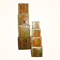 Set of 8 Nesting Lithographed Paper on Wood Crandall's Mammoth ABC Blocks