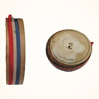 10 Yards 7/16 Inch Red White & Blue Edwardian Ribbon on Spool Never Used
