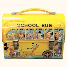 Disney 1960's Yellow School Bus Lunch Box Nice Paint and Litho