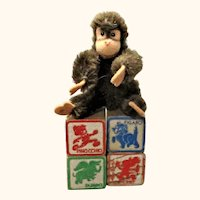 4 Disney 1.25 Inch Solid Wood Character Blocks with 4 Inch Steiff Monkey Script Button
