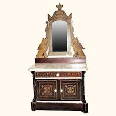 19th Century Doll Size Biedermeier Marble Top Bureau with Tilt Mirror