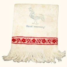 "10.5"" Doll Size Fringed White Damask Good Morning Towel Red Band"