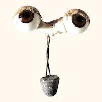 Old German Blown Glass Sleep Doll Eyes Threaded Bulgy Brown Iris