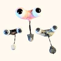 3 Pairs Old Blown Glass German Doll SE Original Rockers & Weights Missing Lid Wax