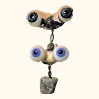2 Pair Blue Blown Glass Small German Doll Eyes Original Rockers Lid Wax