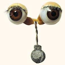 Old Brown Blown Glass German Doll Eyes Original Rocker Lid Wax