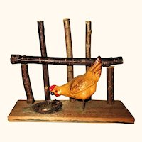 Old German Carmel Colored Hen with Wire Legs on Stand with Twig Nest &Fence