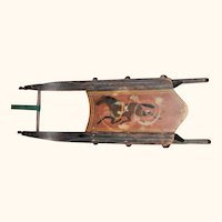19th Century Painted Child's Sled w Trotting Horse  and Swans Head Runners.