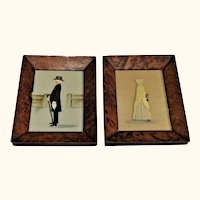 Pair of Cloth Water Color and Ink Framed Rosalie P. Bye Quaker Silhouettes Portraits