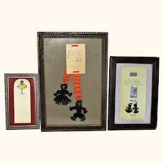 3 Framed Black Memorabilia Book Marks