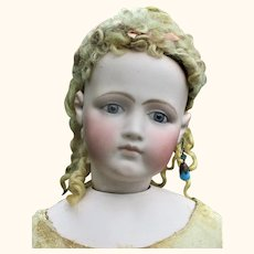 25 Inch French Fashion Portrait Face Swivel Neck Blue Paper Weight Eyes Kid Body Individual Fingers and Toes
