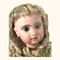 22 Inch Jumeau Reclame Brown Eyes Bee Shoes Factory Costume Tosca Hair Wig Still Paper Tied