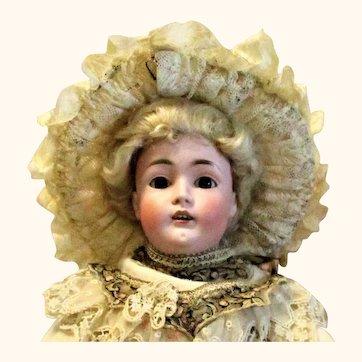 19 Inch Size 10 Kestner 162 Lady Gibson Costume Original Blond Wig Plaster Pate Body Brown SE G.A. Schwarz Label