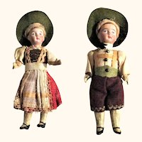 Pair of 6 Inch German Bisque Head Dolls Original Alpine Costumes