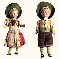 Pair of 6 Inch German Bisque Head Dolls Original Alpine Costumes