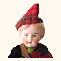 10 Inch 19th Century Bisque SH Molded Hair Painted Eyes Original Scots Costume