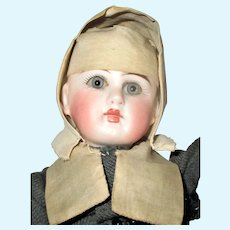 9.5 Inch 137 French Face Ball Head Bisque Doll in Original Carmelite Nun's Costume