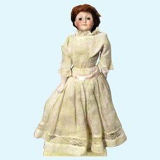 10 Inch Kestner 172 Gibson Girl Brown Fixed Eyes Replaced Wig Antique Clothes