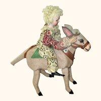 "8"" German Bisque Head Boy Doll on Pony Wind-Up"